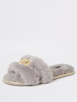 river-island-river-island-faux-fur-mule-slippers-grey