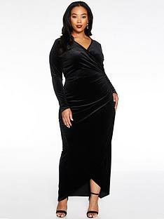 quiz-curve-velvet-ruched-side-wrap-maxi-dress-black