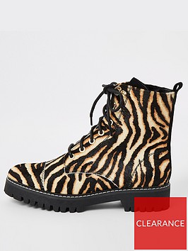 river-island-river-island-printed-leather-lace-up-hiker-boots-brown