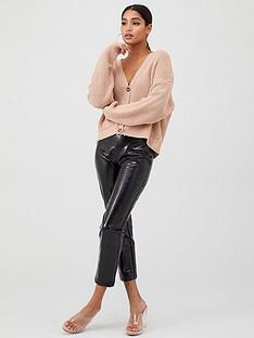 in-the-style-in-the-style-x-fashion-influx-rib-knitted-button-front-cardigan-stone