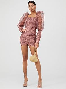 in-the-style-in-the-style-x-charlotte-crosby-animal-printed-organza-square-puff-sleeved-mini-dress