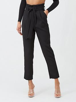 in-the-style-in-the-style-woven-paperbag-tie-waist-tapered-trousers-black