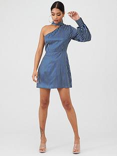 in-the-style-in-the-style-x-laura-jade-satin-stripe-asymmetric-one-sleeve-mini-dress--nbsp-navy