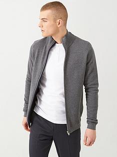 selected-george-full-zip-cardigan-grey