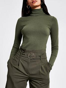 river-island-river-island-roll-neck-long-sleeve-knitted-top--khaki
