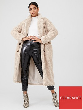in-the-style-in-the-style-x-fashion-influx-oversized-double-breasted-borg-fur-coat-cream