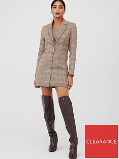 in-the-style-in-the-style-x-fashion-influx-heritage-check-single-breasted-longline-blazer-brown