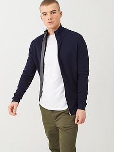 selected-george-full-zip-cardigan-navy