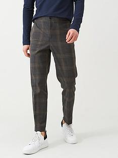 selected-checked-elasticated-waistband-trousers-grey