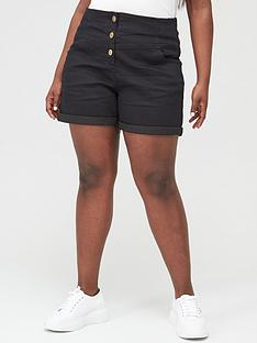 v-by-very-curve-high-waisted-denim-short-black