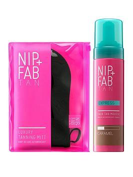 nip-fab-express-faux-tan-mousse-caramel-luxury-tanning-mitt-duo