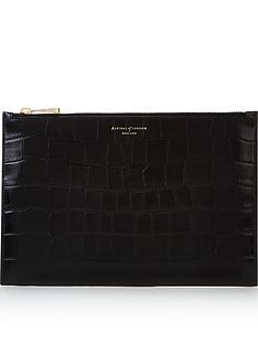 aspinal-of-london-patent-croc-large-essential-flat-pouch-black