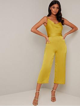 Chi Chi London Yana Jumpsuit - Mustard, Mustard, Size 14, Women
