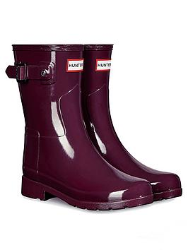 hunter-refined-short-gloss-wellington-boot-red