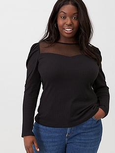 v-by-very-curve-mesh-insert-jersey-top-black