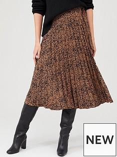 warehouse-warehouse-ink-spot-pleated-midi-skirt-tan