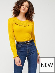 warehouse-pointelle-ruffle-yoke-jumper-yellow