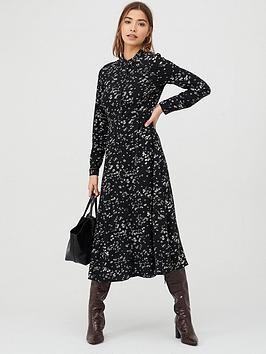 warehouse-daisy-print-midi-shirt-dress-multi