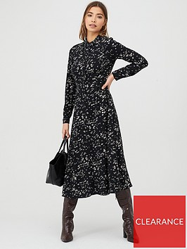 warehouse-daisy-print-midi-shirt-dress-multi