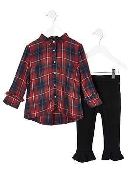river-island-mini-mini-girls-tartan-shirt-and-legging-set--redblack