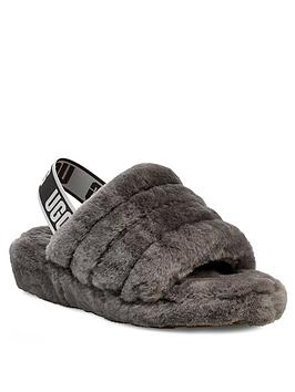 UGG® - Women's Fluff Yeah Slide Slippers - Charcoal - UK 7