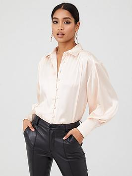 in-the-style-in-the-style-x-fashion-influx-satin-balloon-sleeved-blouse-nude