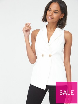 v-by-very-sleeveless-tailored-blazer-ivory
