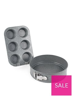 salter-marble-collection-2-piece-muffin-tray-and-24-cm-springform-cake-pan-set-in-grey