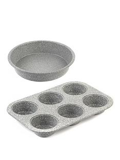 salter-marble-collection-24-cm-baking-pan-and-6-cup-muffin-tray-set-in-grey