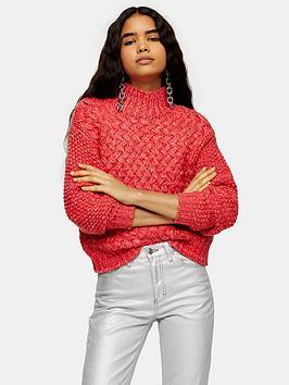 topshop-twist-hand-knit-jumper-pink