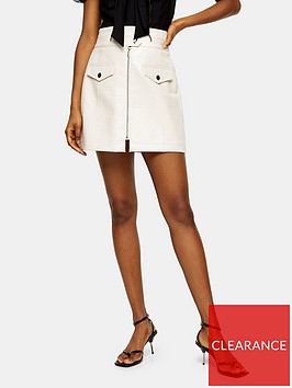 topshop-topshop-croc-zip-mini-skirt-cream