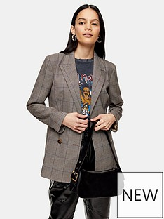 topshop-heritage-check-double-breasted-blazer-brown