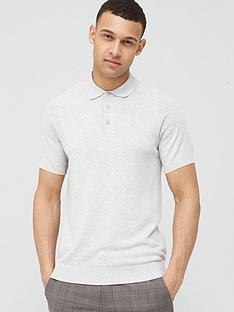 selected-homme-knitted-short-sleeve-polo-shirt-beige