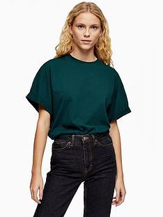topshop-boxy-roll-sleeve-t-shirt-green