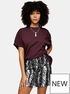 topshop-boxy-roll-sleeve-t-shirt-burgundy
