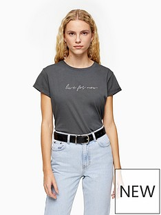 topshop-live-for-now-t--shirt-grey