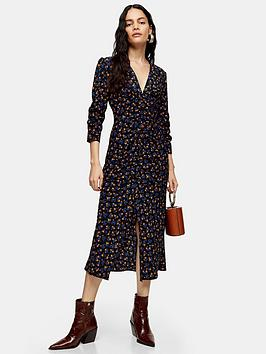 topshop-topshop-tall-v-neck-ruch-midi-dress-black