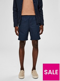 selected-homme-cooper-linen-shorts-navy
