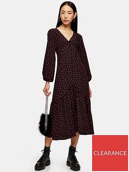 topshop-button-down-v-neck-midi-dress-black