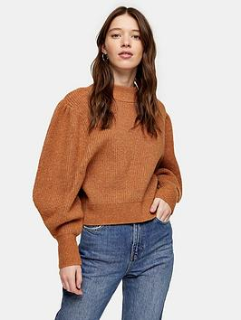 topshop-volume-sleeve-jumper-camel