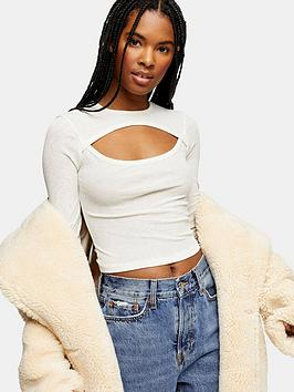 topshop-cut-out-long-sleeve-top-cream
