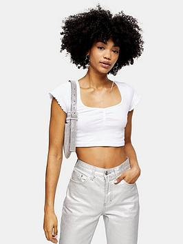 topshop-rib-ruched-crop-top-white
