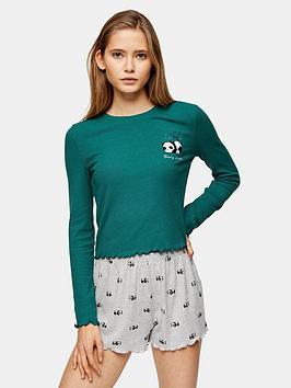 topshop-topshop-panda-long-sleeve-pajama-set-multi