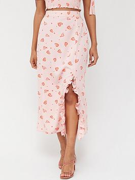 v-by-very-side-ruch-midi-skirt-heart-print