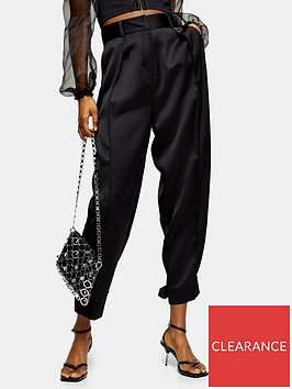topshop-satin-tapered-fit-trousers-ndash-black