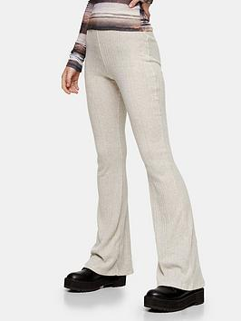 topshop-brush-rib-flared-trousers-oat