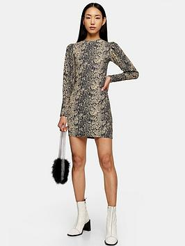 topshop-snake-puff-sleeve-crinkle-mini-dress-multi