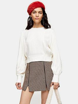 topshop-jacquard-seamed-blouse-ivory