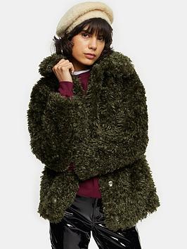 topshop-curly-borg-jacket-khaki