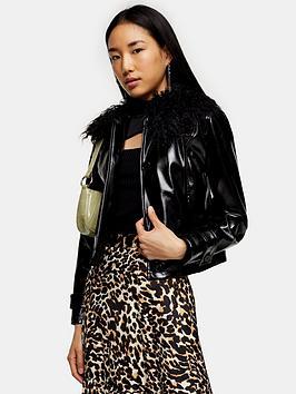 topshop-topshopnbspvinyl-faux-fur-collar-jacket-black